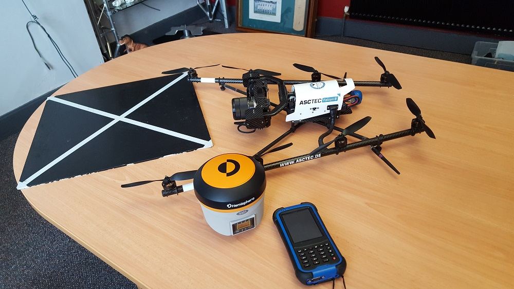 New Hemisphere S321 GNSS receiver used for accurate ground control on UAV survey.